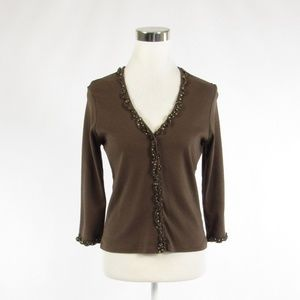 Boden brown cotton 3/4 sleeve blouse 14